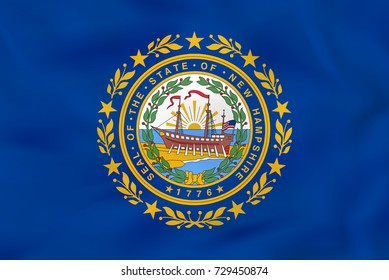 New Hampshire waving flag. New Hampshire state flag background texture. Raster copy.