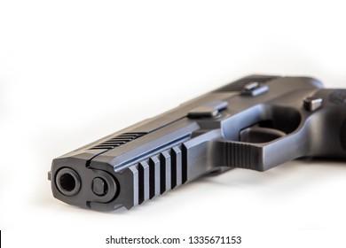New handgun white background isolated close up