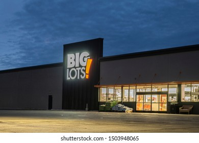 New Hartford, NY - SEPTEMBER 09, 2019: Exterior Night View of Big Lots Retail Discount Store. It is a Discount Retail Chain Selling Food, Furniture and Housewares with over 1400 Stores in 47 States.