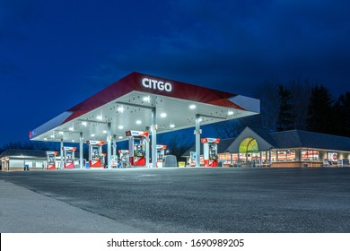 New Hartford, New York - Apr 1, 2020: Citgo Gas Station Exterior, Citgo Petroleum Corporation is a US-based Refiner, Transporter and Marketer of Transportation Fuels, Lubricants, Petrochemicals.