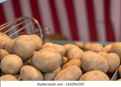 A new harvest of potatoes displayed at a local farmers' market