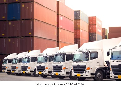 New haulage truck fleet with container depot as in transportation concept.