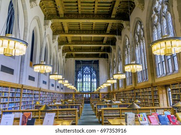 NEW HAVEN, CONNECTICUT - JUNE 24, 2017 Goldman Law Library Yale University New Haven Connecticut. Completed in 1931 and very large law library.
