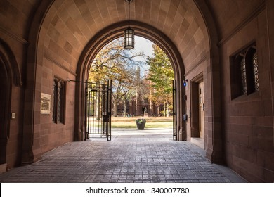 NEW HAVEN, CONNECTICUT - NOVEMBER 8, 2015: Seen here is a view of Phelps Gate at Yale University looking in towards the campus with people visible in the distance.