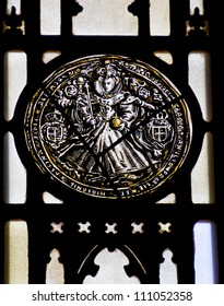 NEW HAVEN, CONNECTICUT, USA--APRIL 15, 2012 Bonawit Stained Glass Elizabeth the Great Yale University Sterling Memorial Library April 15, 2012 in New Haven, Connecticut, USA
