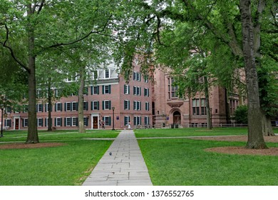 NEW HAVEN, CT - JUNE 2011:  The Old Campus quadrangle of Yale University, with buildings from the 1700s.