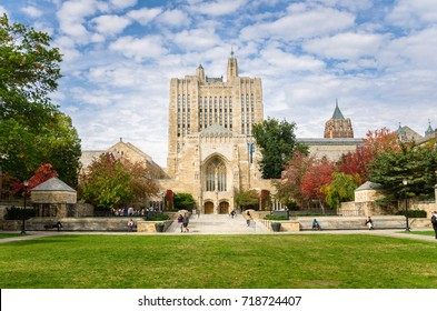 New Haven, CT - October 20, 2016: Sterling Memorial Library at Yale University. Located in the heart of today's Central Campus, the Sterling Memorial Library is one of Yale's most prominent buildings.