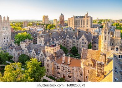 NEW HAVEN, CT, USA - JUNE 25, 2018: View of Yale University central campus from Harkness Tower on June 25, 2018. Yale University is a private Ivy League research university in New Haven, Connecticut.