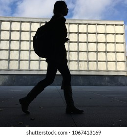 New Haven, CT, USA October 23, 2017 A female student walks past the Beinecke Rare Book and Manuscript Library on their way to class at Yale University in New Haven Connecticut