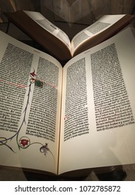 New Haven, CT, USA October 23, 2017 A rare Gutenberg Bible is on display at the Beinecke Rare Book and Manuscript Library at Yale University in New Haven, Connecticut.