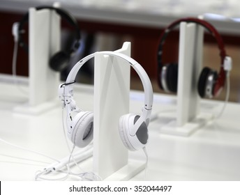 New headphones exhibited in an electronics store