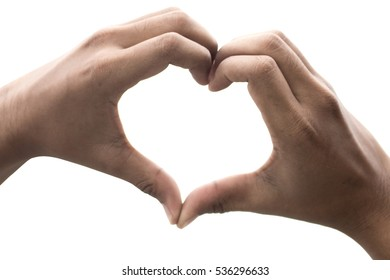New The Heart shape woman hand making on white background