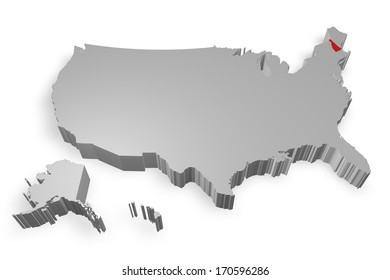New hemphshire state on Map of USA 3d model on white background