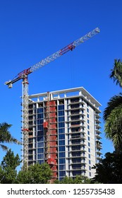 A new high rise oceanfront luxury condominium rises from the ground, on Singer Island, Florida, near Palm Beach, on the Upper East Side of the Palm Beaches.