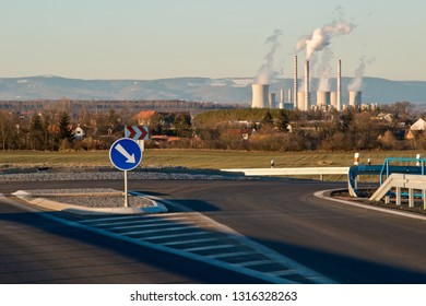 New highway with Pocerady power station. Czech Republic.