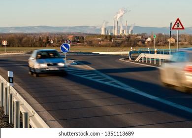 New highway with Pocerady power station. Czech Republic.
