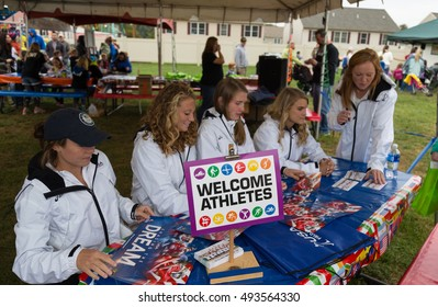 New Holland, PA - September 30, 2016: Members of the USA women's field hockey team sign autographs and meet fans at the New Holland Annual Farmers Fair.
