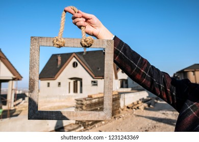 New home concept. House on background