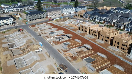 New home construction. Aerial views of urban expansion and growth.