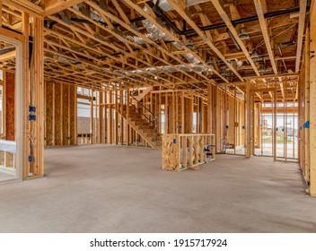 Neubau des Wohnhauses mit Beton-Böden.