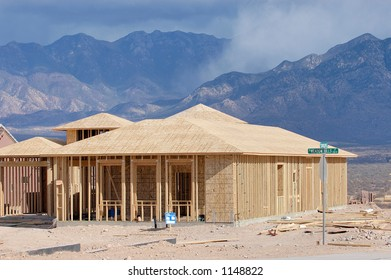 New home construction in the desert retirement community of Green Valley Arizona.