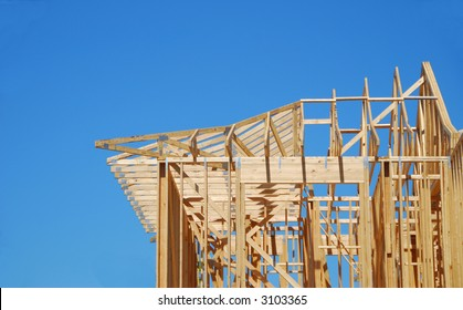 New Home Construction Under Blue Sky