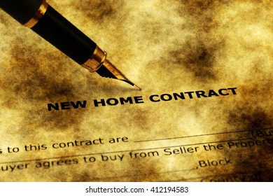 New home contract form grunge concept
