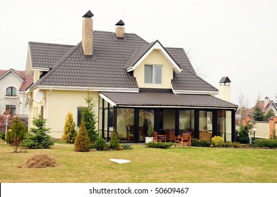 A new home with a garden in a rural area