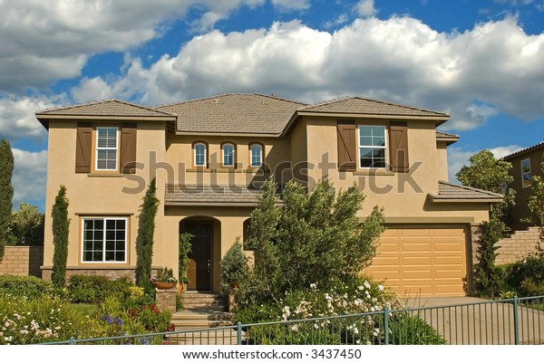 A new home in a new subdivision awaiting a new family