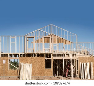 New Home Under Construction with copy space for text