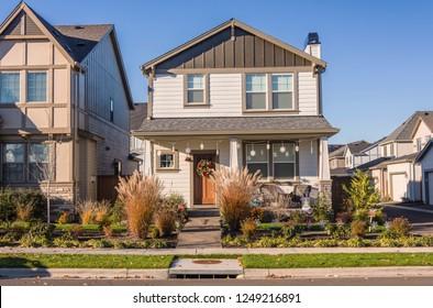 New homes in a neighborhood Wilsonville Oregon.