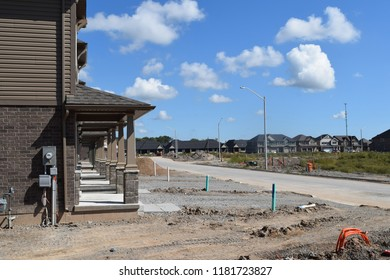 New homes under construction in new subdivision and residential area.
