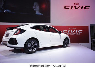 New Honda civic Hatchback 2018 white color at 34th International Motor Expo Bangkok Thailand - December 2017