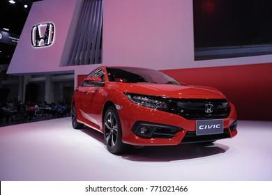 New Honda civic Hatchback 2018 red metallic color at 34th International Motor Expo Bangkok Thailand - December 2017