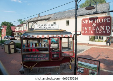 NEW HOPE, PA - AUGUST 11: The New Hope and Ivyland rail road is a heritage train line for visitors going on touristic excursions in Bucks County, Pennsylvania on August 11, 2013