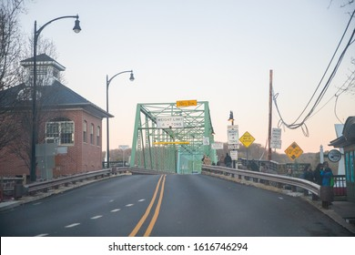 New Hope, PA, January 12, 2020: The New Hope–Lambertville Bridge is a six-span, 1,053-foot (321 m)-long bridge spanning the Delaware River that connects the city of Lambertville in New Jersey