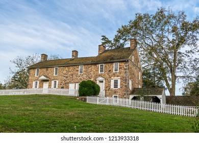 NEW HOPE, PENNSYLVANIA - OCTOBER 16: The historic Thompson Neely House used as a military hospital during the Revolutionary War as seen on October 16 2018 in New Hope Pennsylvania.