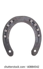 new horseshoe with nails isolated on white background