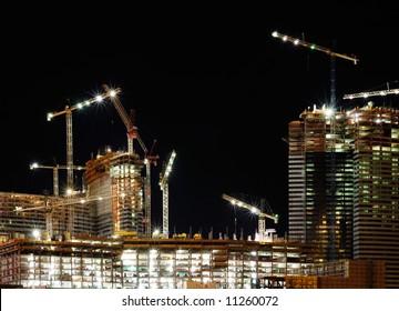 new hotel construction, night scene