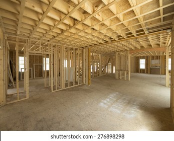 New house interior framing construction