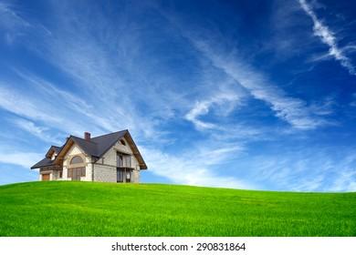 New house on blue sky