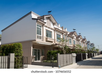 New house for sale or rent isolated on blue sky background. Real Estate concept.