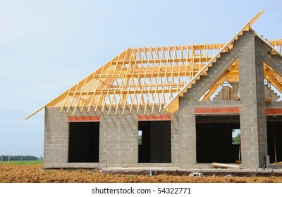 A new house under construction in countryside