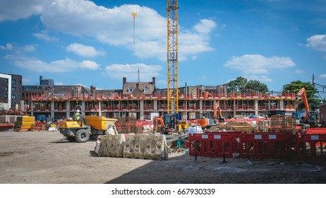 New housing development construction site in London (UK). 2017.