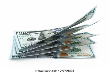 New Hundred dollar banknotes closeup (isolated and clipping path)