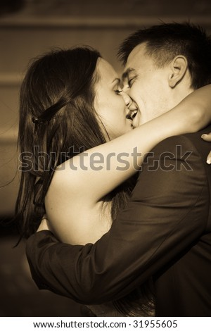 New Husband Wife Kissing Romantic Hug Stock Photo Edit Now