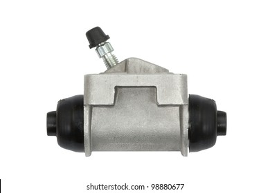 New hydraulic cylinder brake drum, isolated on a white background