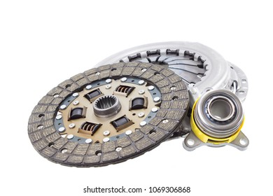 new hydraulic release bearing, disk, basket parts of car clutch on white background