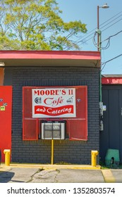 NEW IBERIA, L.A. / USA - MARCH 26, 2019: Moore's 2, Moore's cafe and catering located on Hopkins street in New Iberia, Louisiana is a small town restaurant serving BBQ, ribs and crawfish.