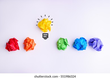 New Idea Concept. Colorful Crumpled Paper Balls